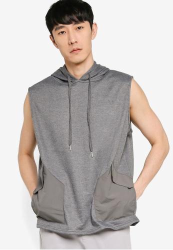 ZALORA BASICS grey Mixed Fabric Pocket Sleeveless Hoodie 122EBAA015617DGS_1