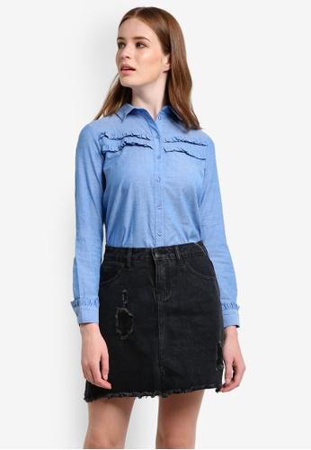 Dorothy Perkins blue Chambray Double Frill Shirt DO816AA0REWBMY_1