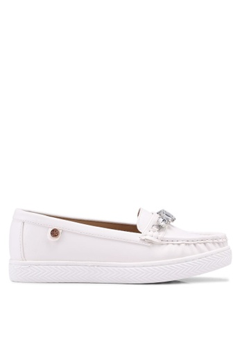 Carlton London white Embellished Loafers B16CASH76EA0D9GS_1