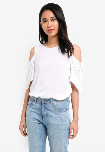 Pieces white Nynne Short Sleeve Top 6D078AADD2034EGS_1