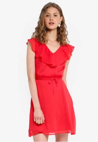 Jack Wills red Hartstop Frill Dress 9AE34AA4D56BBBGS_1
