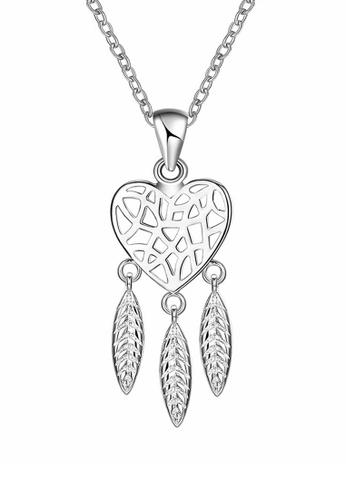 Elfi silver Elfi 925 Sterling Silver 18K White Gold Plating Heart Dreamcatcher Pendant SP110 18242AC3B44DAAGS_1