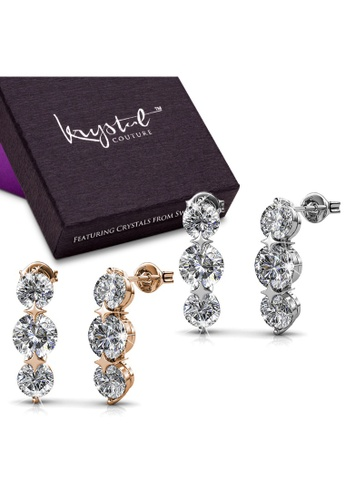 Krystal Couture gold KRYSTAL COUTURE Boxed 2 Pairs Long Journey Drop Earrings Set Embellished with Swarovski® crystals-White Gold/Clear D9BBAAC6E771A2GS_1