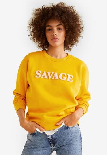 Mango yellow Furry Message Sweatshirt E683CAA9280CA3GS_1