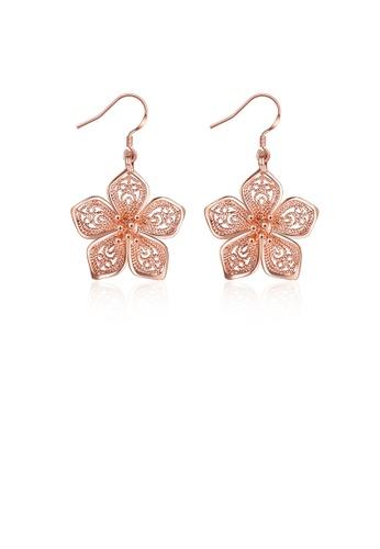 Glamorousky silver Elegant Fashion Plated Rose Gold Flower Pierced Earrings 40133ACB61DC59GS_1