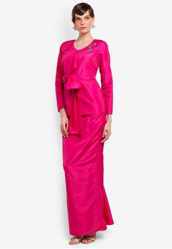 Zaimi Zulkafli for ZALORA pink Melor Luxe Kurung ZA761AA0STJ3MY_1