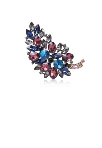 Glamorousky silver Fashion Bright Colorful Leaf Brooch with Cubic Zirconia 057ABAC05B0AA5GS_1