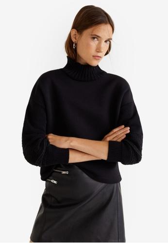 Mango black Contrasting Knit Sweatshirt A02AFAA1115C15GS_1