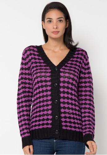 VOYANT BY MEGUMI purple Cardigan Button Stripe VO505AA96YJFID_1