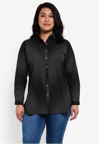 Ex'otico black Plus Size Long Sleeve Shirt EX373AA0RUVGMY_1