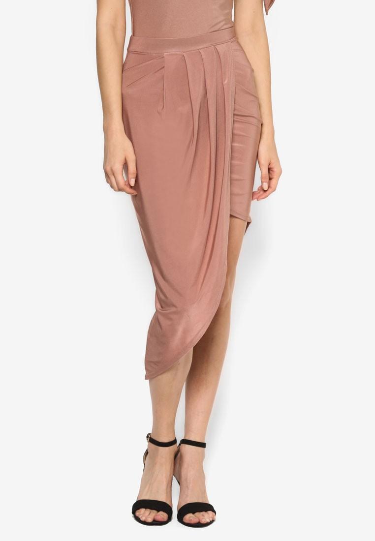 Slinky Asymmetric Midi Skirt