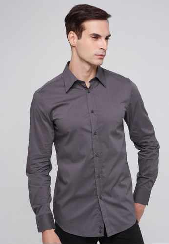 United Colors of Benetton grey Slim Fit Yarn Dyed Shirt CEF48AAE5977BBGS_1