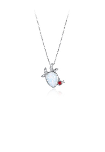 Glamorousky white 925 Sterling Silver Fashion Aries Pendant with Austrian Element Crystal and Necklace A64A9ACF06B310GS_1