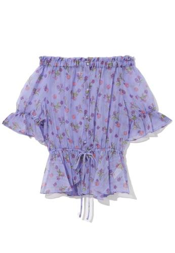 b+ab purple Off shoulder chiffon blouse 1AE0FAABD48DC5GS_1