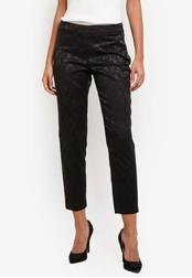 Wallis black Petite Black Jacquard Trousers WA800AA0SACBMY_1