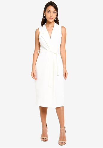 0aefc71c3770 MISSGUIDED white Sleeveless Belted Midi Blazer Dress CC25CAA3A35AB4GS_1