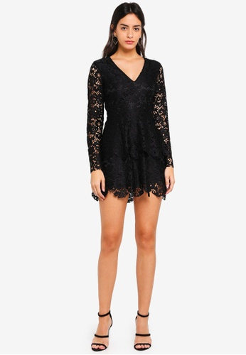 3ee9b67709a7 Shop MISSGUIDED Lace Plunge Frill Layer Skater Dress Online on ZALORA  Philippines