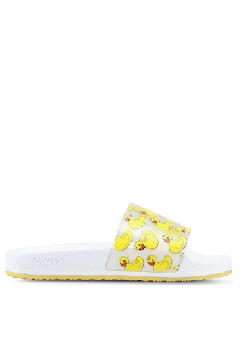 Slydes white and yellow and multi Quackers Sandals 4727DSH8848852GS_1