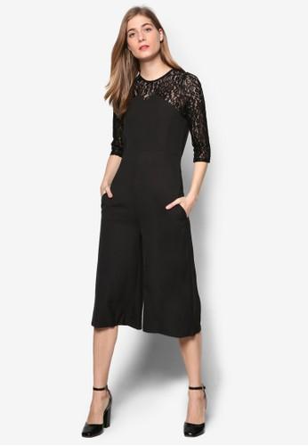 Janet 蕾絲拼接五分袖連身褲, 服飾,esprit hk 連身褲