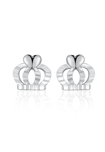 MaBelle silver 14K White Gold Faceted Crown Stud Earrings MA584AC2UQTAHK_1