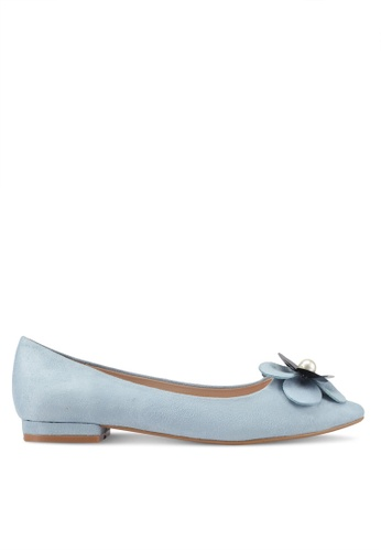 Velvet blue Flower Embellished Ballet Flats 890BASH5D8060CGS_1