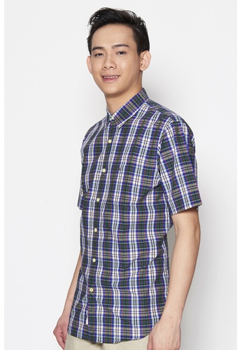 Dockers blue and multi Dockers Short Sleeve Laundered Poplin Shirt Eoe - Eclipse DO282AA99QCUSG_1
