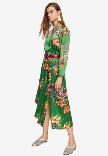 Mango green Satin Floral Dress 273C5AA85F5ACCGS_1