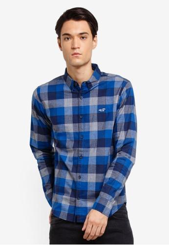Hollister 藍色 格紋襯衫 E564CAAF43DFD0GS_1