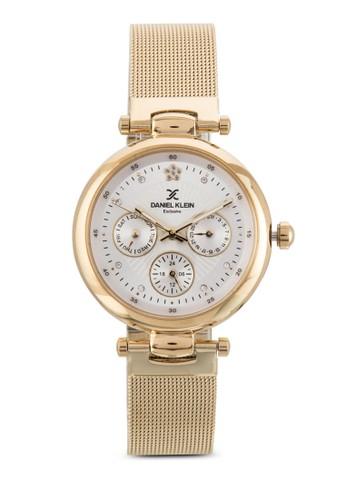 35mm DK11037-1 不銹鋼拼接網格圓錶zalora 衣服評價, 錶類, 飾品配件