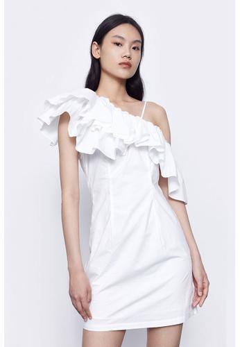 Urban Revivo white Lotus Leaf Diagonal Dress 625B6AAB96FE9FGS_1