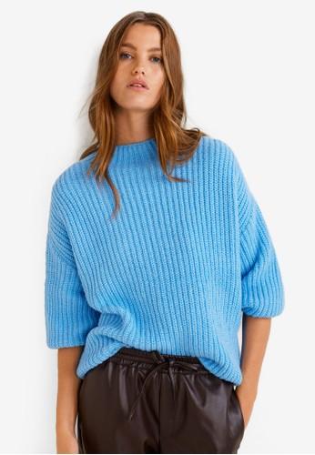 MANGO blue Ribbed Knit Sweater E042BAA921D673GS_1