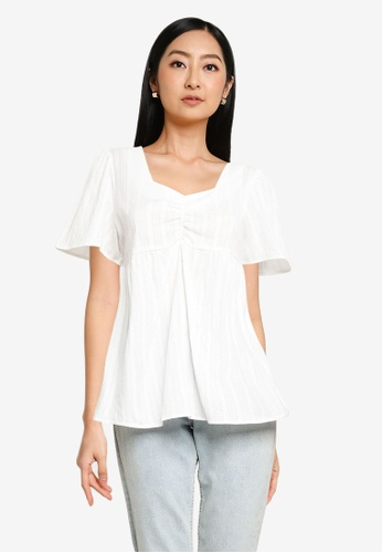 Heather white Lace Up Top 5053DAA931D06CGS_1
