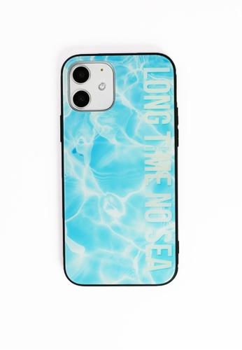 House of Avenues blue Long Time No Sea Tempered Glass Shell Phone Case For iPhone 12 A4EB9AC40CE860GS_1