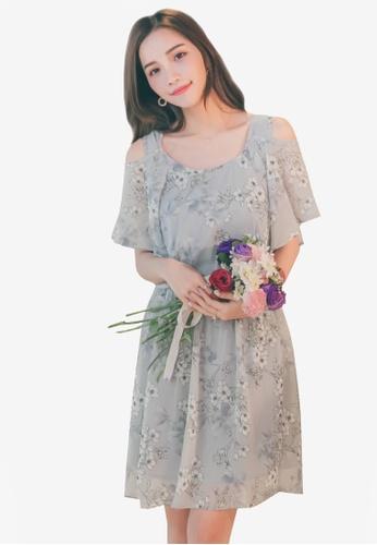 Yoco grey Ruffled Floral Sun Dress 40477AA7790398GS_1