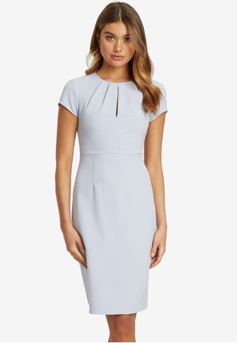REUX grey Kylie Tuck Neck Dress 3BD42AA7685492GS_1