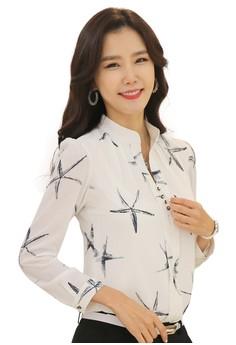 Slim Fit Starfish Pattern Casual Shirt