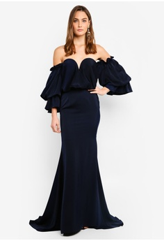 39ea89827f Elle Zeitoune navy Satin Dress With Off Shoulder Oversized Belle Sleeves  398F5AA0E82EBAGS 1