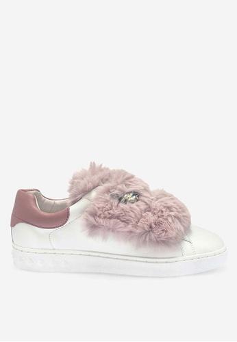 ASH white and pink Panda - White Fur Low-Top Sneakers 1B88ASH7AC15E6GS_1