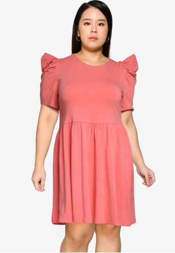 Only CARMAKOMA pink Plus Size June Life 2/4 Puff Knee Dress 19D8EAA648D17EGS_1