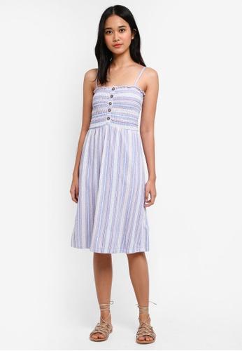 TOPSHOP blue Petite Striped Shirred Midi Dress 619E8AA50494C0GS_1