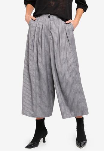 Sisley grey Contrasting Stripe Pants 8AD8EAA494FC35GS_1