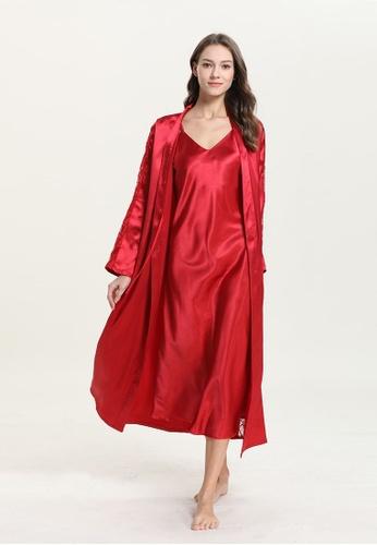 ZITIQUE red Imitation Silk Suspender Sleepwear-Red 7C9E0US0A64899GS_1