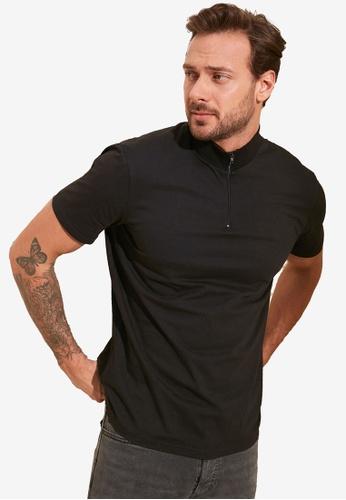 Trendyol black Zip Collar Slim Fit Polo Shirt 77931AA2589276GS_1