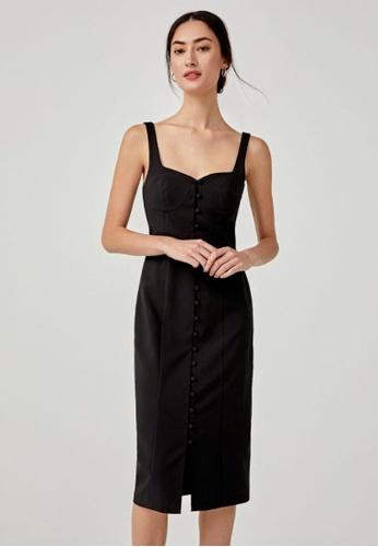 Love, Bonito black Ambar Button Down Bodycon Dress 90868AAC74560BGS_1