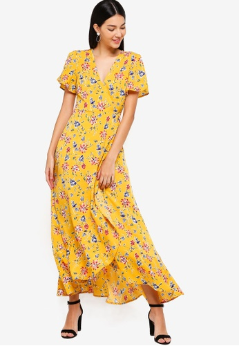 ZALORA yellow and multi Ruffles Maxi Wrap Dress A098DAAA3E811CGS_1