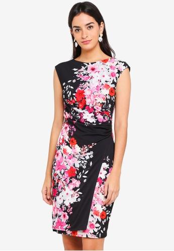 Wallis black Black Floral Print Detail Shift Dress 1E029AA7DB8F8DGS_1