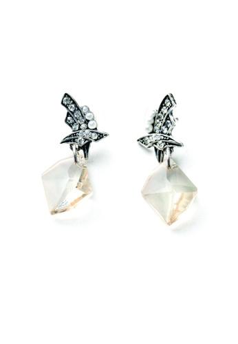 My Fame Diva beige Symmetrica Diamante Gem Earrings MY698AC16ANZMY_1
