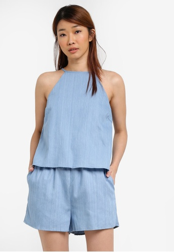 Something Borrowed blue Double Layer Cut In Romper 44911AA58716ADGS_1