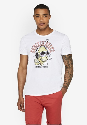 ESPRIT 白色 Print Jersey T-襯衫 382F6AA92AA682GS_1