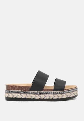London Rag 黑色 双带厚底松高托鞋 FE69ESH275343EGS_1